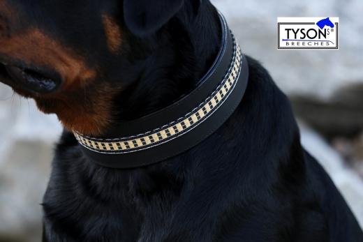 Hundehalsband Lederhalsband LENNY Schwarz Braun M L XL BREIT