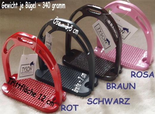 Alu Steigbügel Aluminium Rosa Schwarz Braun Rot 12 cm