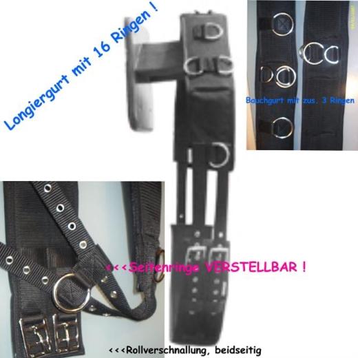 Longiergurt 16 Ringe f. Doppellonge geeignet  P VB WB Neopren