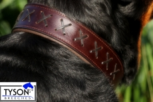 Hundehalsband Leder Zierstich Schwarz Braun M L XL BREIT