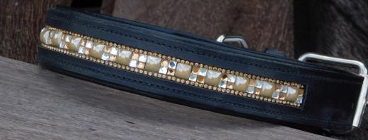 Lederhalsband Schwarz mit Glitzer 46-52 cm Breite 3,5 cm