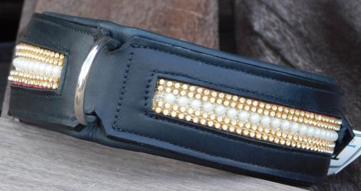 Leder Halsband Glitzer + Perlen großer Hund 55-61 cm BREITE 5,5 cm
