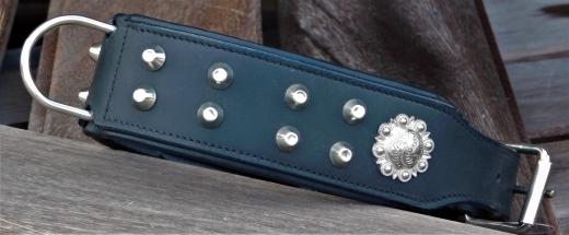 Lederhalsband Schwarz Nieten + Sonne 52-59 cm Breite 5,5