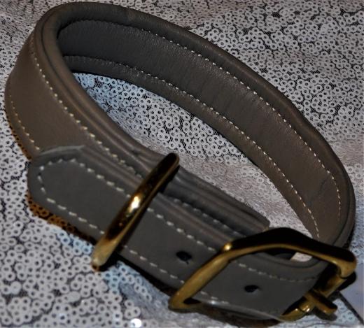 Lederhalsband Grau Leder sehr stabil Gold- Farben 35 - 42 /   2,5 cm Breite WEICH !