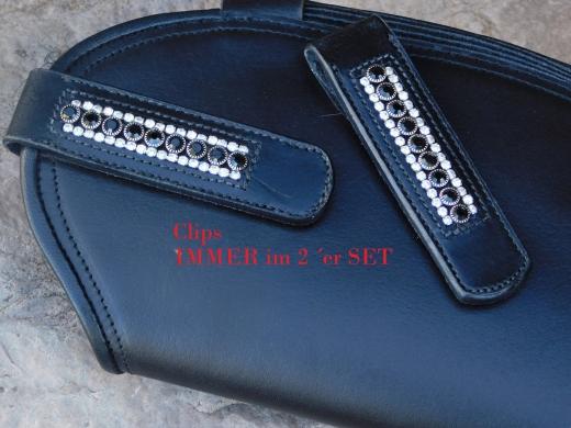 Stiefelchlips  Stiefel Clip Glitzer Strass + Lack - Leder