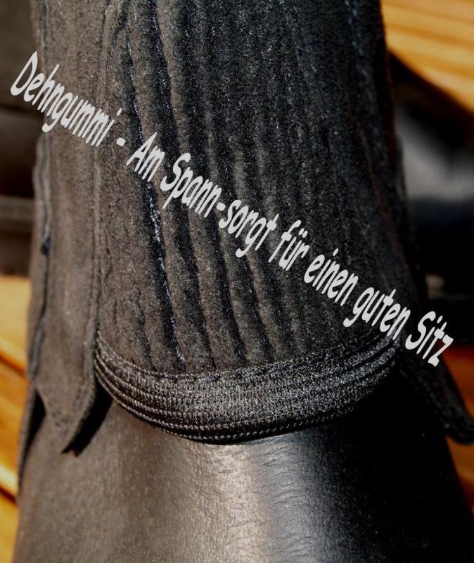 QHP Chaps Minichaps Neopren Amara schwarz elastisch Rei/ßverschluss