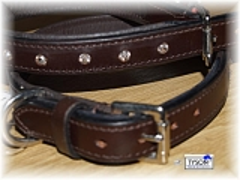 Lederhalsband Leder Strass 41 - 46  cm Braun STRASS