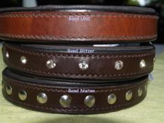 Lederhalsband Nieten oder Strass  Braun 41-46 cm Mittel