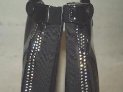 Chaps Lack Kroko Design Reitchaps XS S M L   Glitzer Zipper