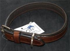 Lederhalsband Braun 39-45 cm Mittel Uni Halsband