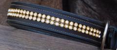 Glitzer Halsband Braun  LEDER 46-52 cm 3,5 cm BREITE