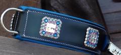 Leder Halsband Glitzer Deko Schwarz Blau 55-61 Breite 5,5 cm