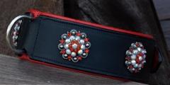 Leder Halsband BREIT Schwarz Rot + Glitzer Deko 55-61 cm