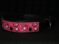 Hundehalsband LEDER Rosa RETRO Look 45-55 cm