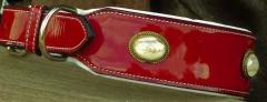 Hundehalsband LACK Rot Breit 55-61 großer Hund