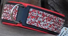 Halsband LEDER Schwarz Rot Glitzer großer Hund 52-58 cm BREIT