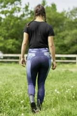 Reithose Salina Jeans Blau Voll Grip Blau + Schlupf + Stick  36 38 40 42 44 46 48