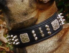 Halsband Leder Rocky Braun Schwarz Nieten super WEICH unterlegt M L XL Breit