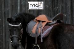 Ledersattel Tan  Braun Bi Color 14 15 Zoll + 5  Kopfeisen verstellbar Monosattel Sattel Shetty