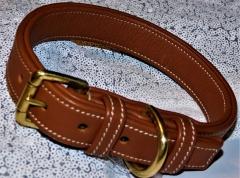 Lederhalsband Braun Leder sehr stabil Hellbraun Gold- Farben 37- 46 /   2,5 cm Breite