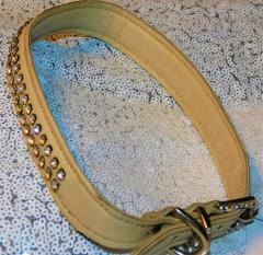 Lederhalsband Beige Glitzer Halsband Deko Schnalle 44-49 cm  Breite 2 cm