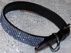 Lederhalsband Glitzer Blau Leder Schwarz 41-50 cm 2,3 Breit genäht