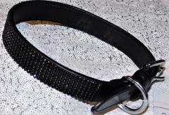 Lederhalsband Glitzer Schwarz Leder Schwarz 41-51 cm 2,5 Breit genäht