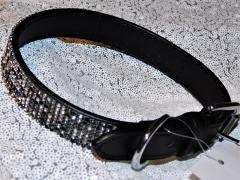 Lederhalsband Glitzer Schwarz Grau Leder Schwarz 41-51 cm 2,5 Breit genäht