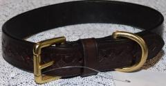 Lederhalsband Gravur / Prägung  Lederfarbe Braun 42-49 cm 2,4 Breit genäht
