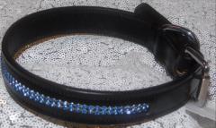 Lederhalsband Glitzer Blau Leder Schwarz 41-50 cm 2,5 Breit genäht