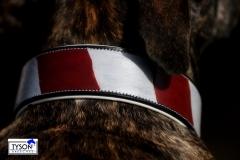 Andi  Vintage Style Lederhalsband Rot Weiß Leder fest genäht S M L