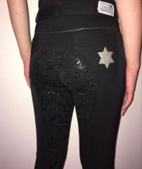 STAR Sterne Vollbesatz Schwarz Grip 152 164 176 Glitzer