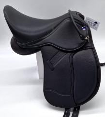 Ledersattel  BLACK Schwarz 14 15  Zoll Kopfeisen verstellbar Mono Sattel Shetty