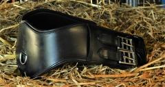 Mond Leder Sattelgurt super SOFT ergonomische Form 45 55 65 cm Schwarz