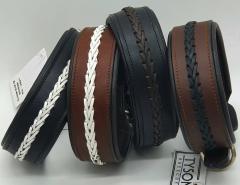 Leder Halsband Stitch  geflochten Schwarz Weiß Braun M L XL BREIT Lederhalsband
