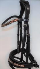 Trense DIONI ergonomisch Genick Steg Patches  Leder Schwarz VB WB X Full Rose/ Champagner Beige Noriker