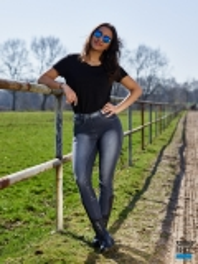 Reithose Elli Jeans Stoned Wash Schlupf Voll Grip 36 38 40 42 44 46 48 50